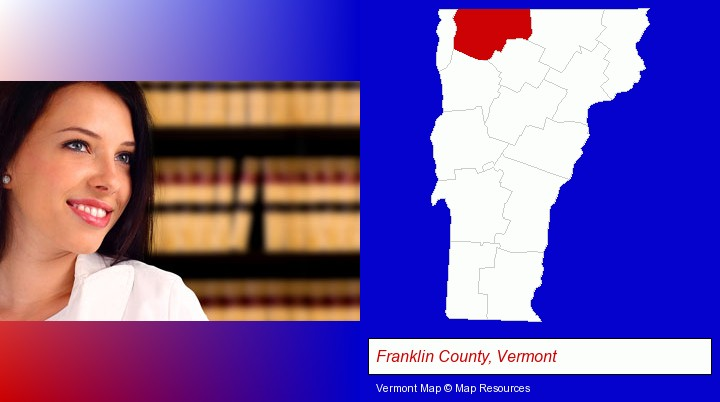a young, female attorney in a law library; Franklin County, Vermont highlighted in red on a map