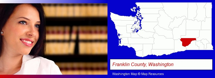 a young, female attorney in a law library; Franklin County, Washington highlighted in red on a map