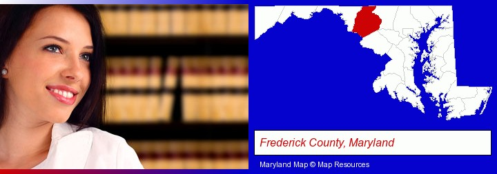 a young, female attorney in a law library; Frederick County, Maryland highlighted in red on a map