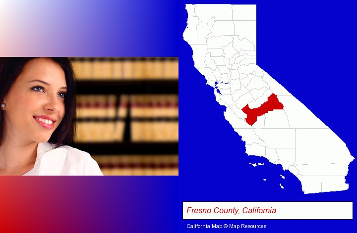 a young, female attorney in a law library; Fresno County, California highlighted in red on a map