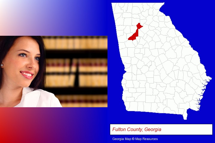 a young, female attorney in a law library; Fulton County, Georgia highlighted in red on a map