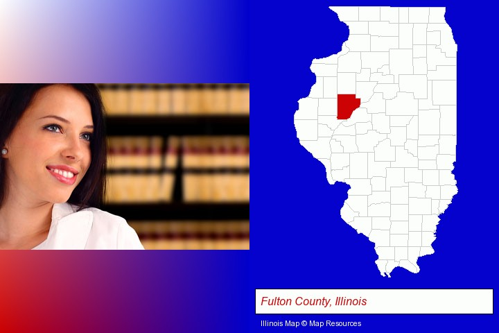 a young, female attorney in a law library; Fulton County, Illinois highlighted in red on a map