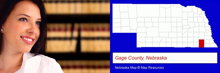 a young, female attorney in a law library; Gage County, Nebraska highlighted in red on a map