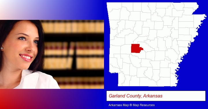 a young, female attorney in a law library; Garland County, Arkansas highlighted in red on a map