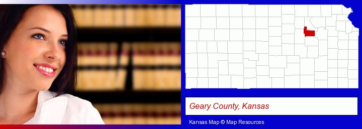a young, female attorney in a law library; Geary County, Kansas highlighted in red on a map