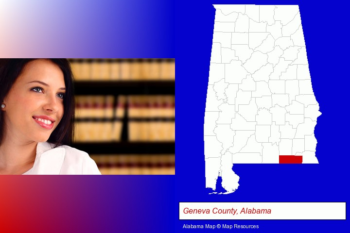 a young, female attorney in a law library; Geneva County, Alabama highlighted in red on a map