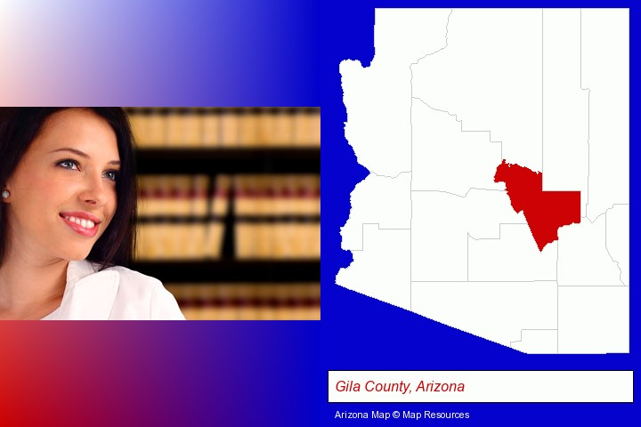 a young, female attorney in a law library; Gila County, Arizona highlighted in red on a map