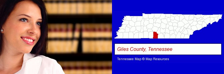 a young, female attorney in a law library; Giles County, Tennessee highlighted in red on a map