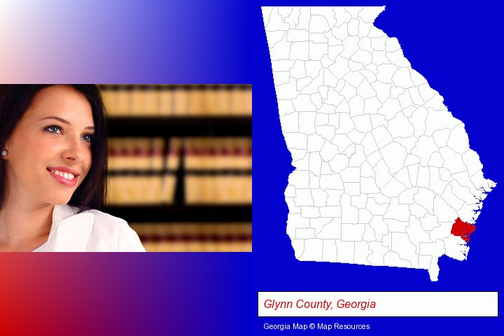 a young, female attorney in a law library; Glynn County, Georgia highlighted in red on a map