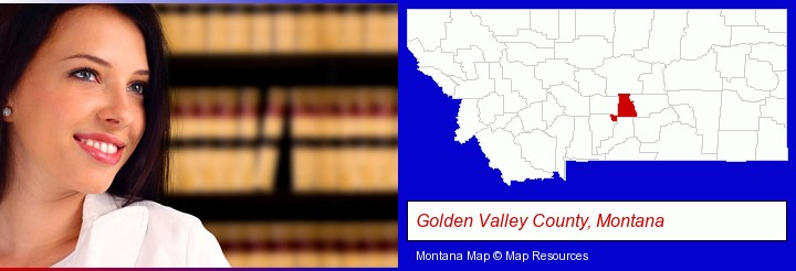 a young, female attorney in a law library; Golden Valley County, Montana highlighted in red on a map