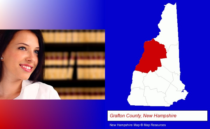 a young, female attorney in a law library; Grafton County, New Hampshire highlighted in red on a map