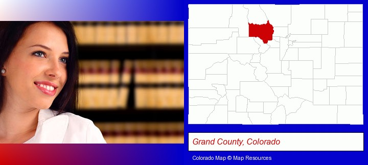 a young, female attorney in a law library; Grand County, Colorado highlighted in red on a map