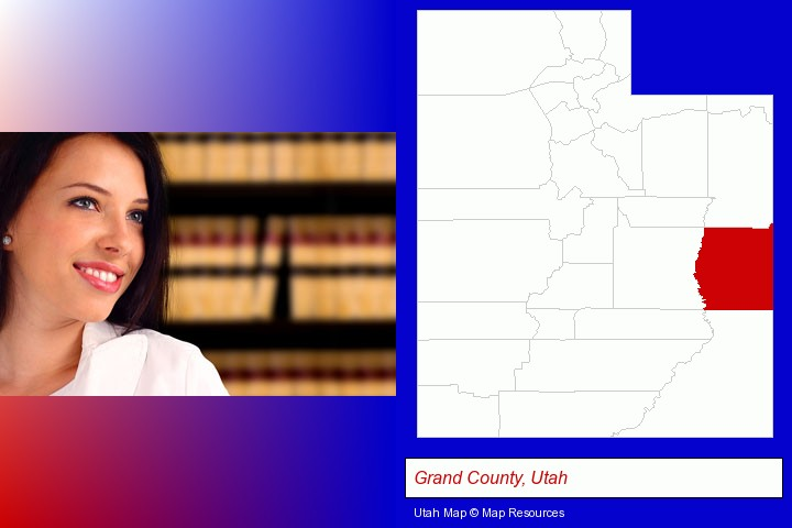 a young, female attorney in a law library; Grand County, Utah highlighted in red on a map