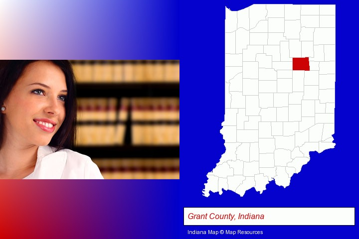 a young, female attorney in a law library; Grant County, Indiana highlighted in red on a map