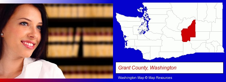 a young, female attorney in a law library; Grant County, Washington highlighted in red on a map