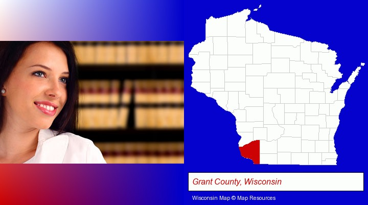 a young, female attorney in a law library; Grant County, Wisconsin highlighted in red on a map