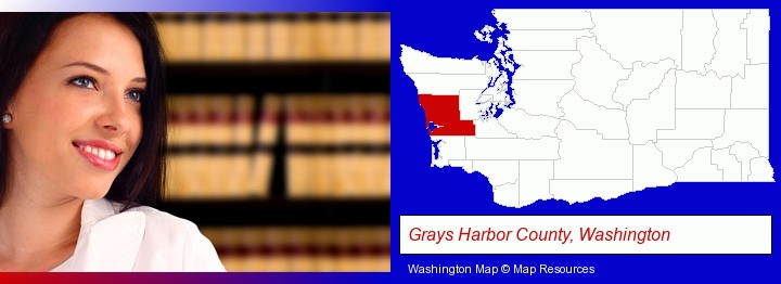 a young, female attorney in a law library; Grays Harbor County, Washington highlighted in red on a map