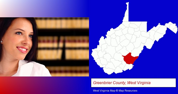 a young, female attorney in a law library; Greenbrier County, West Virginia highlighted in red on a map