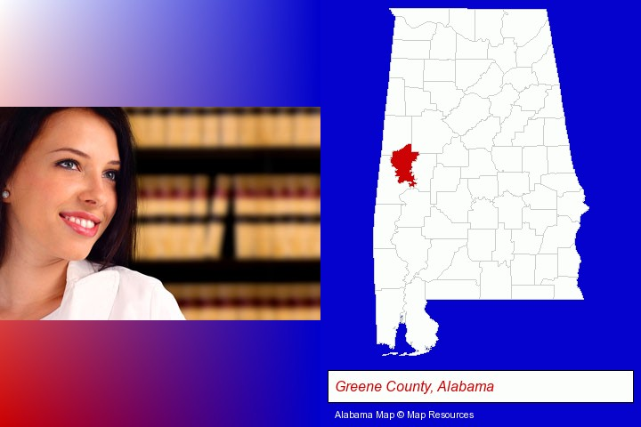 a young, female attorney in a law library; Greene County, Alabama highlighted in red on a map