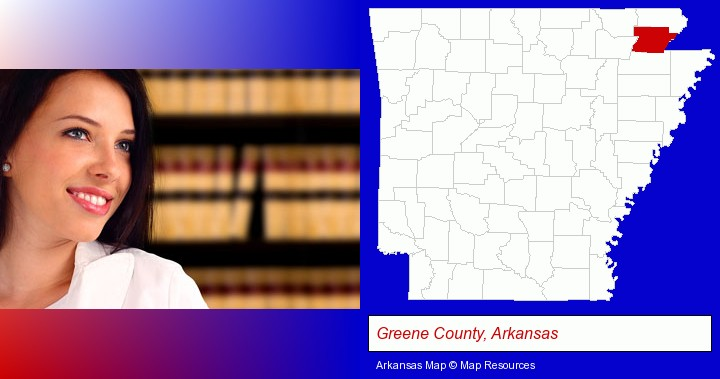 a young, female attorney in a law library; Greene County, Arkansas highlighted in red on a map
