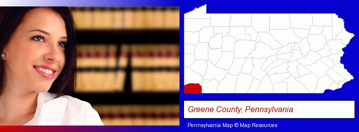 a young, female attorney in a law library; Greene County, Pennsylvania highlighted in red on a map