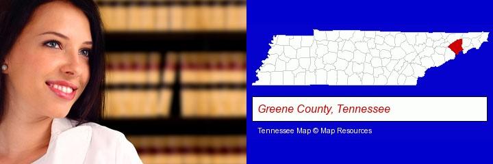 a young, female attorney in a law library; Greene County, Tennessee highlighted in red on a map