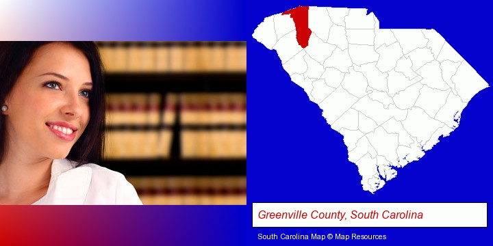a young, female attorney in a law library; Greenville County, South Carolina highlighted in red on a map