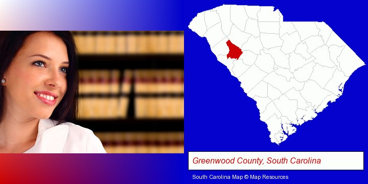 a young, female attorney in a law library; Greenwood County, South Carolina highlighted in red on a map