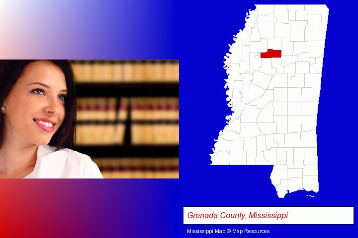a young, female attorney in a law library; Grenada County, Mississippi highlighted in red on a map