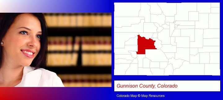 a young, female attorney in a law library; Gunnison County, Colorado highlighted in red on a map