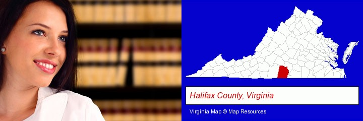 a young, female attorney in a law library; Halifax County, Virginia highlighted in red on a map