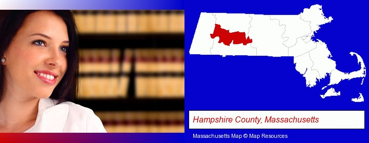 a young, female attorney in a law library; Hampshire County, Massachusetts highlighted in red on a map