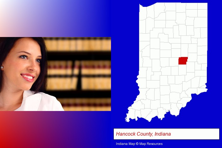 a young, female attorney in a law library; Hancock County, Indiana highlighted in red on a map