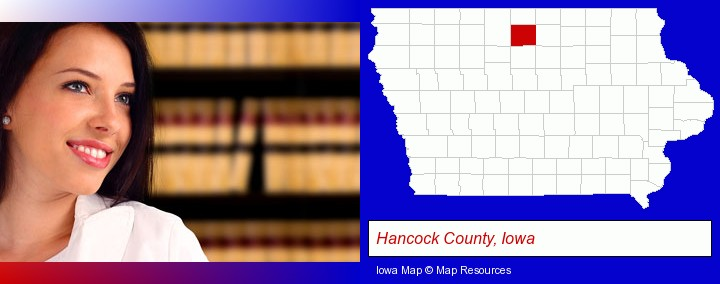 a young, female attorney in a law library; Hancock County, Iowa highlighted in red on a map