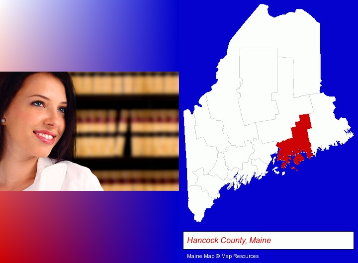 a young, female attorney in a law library; Hancock County, Maine highlighted in red on a map