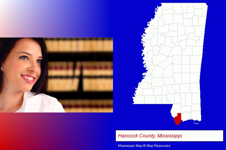 a young, female attorney in a law library; Hancock County, Mississippi highlighted in red on a map