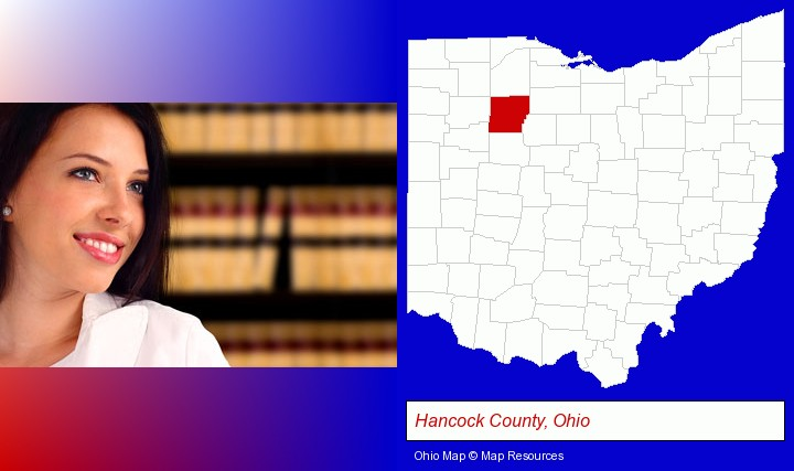 a young, female attorney in a law library; Hancock County, Ohio highlighted in red on a map