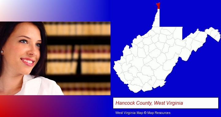 a young, female attorney in a law library; Hancock County, West Virginia highlighted in red on a map
