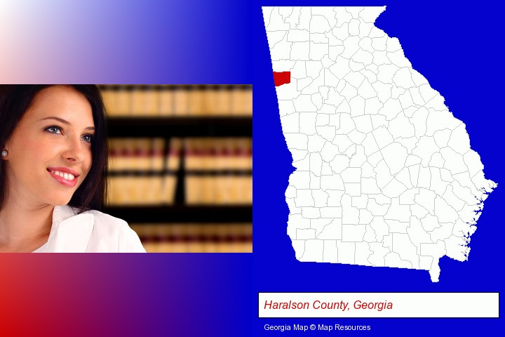 a young, female attorney in a law library; Haralson County, Georgia highlighted in red on a map