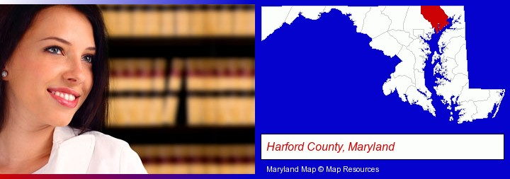 a young, female attorney in a law library; Harford County, Maryland highlighted in red on a map