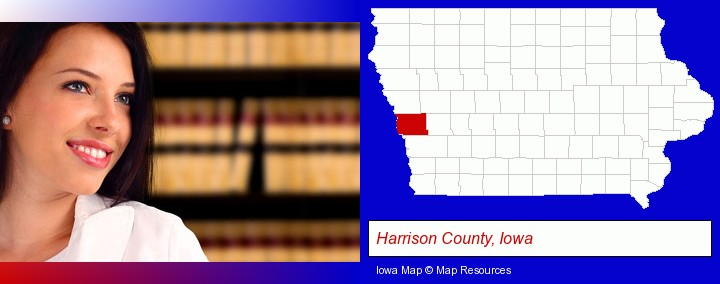 a young, female attorney in a law library; Harrison County, Iowa highlighted in red on a map