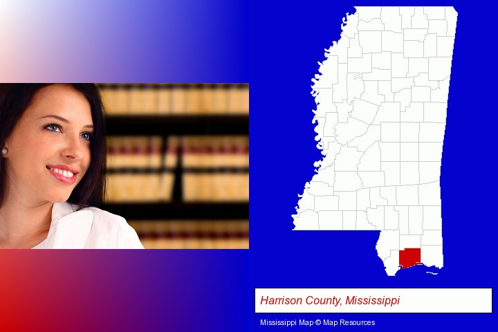 a young, female attorney in a law library; Harrison County, Mississippi highlighted in red on a map