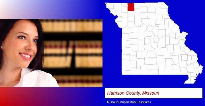 a young, female attorney in a law library; Harrison County, Missouri highlighted in red on a map