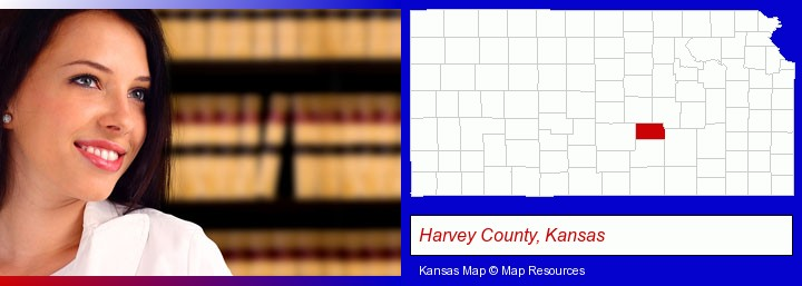 a young, female attorney in a law library; Harvey County, Kansas highlighted in red on a map