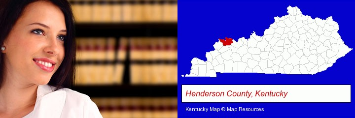 a young, female attorney in a law library; Henderson County, Kentucky highlighted in red on a map
