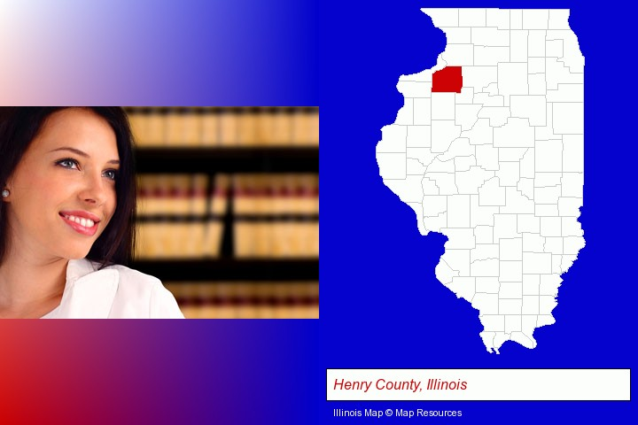 a young, female attorney in a law library; Henry County, Illinois highlighted in red on a map