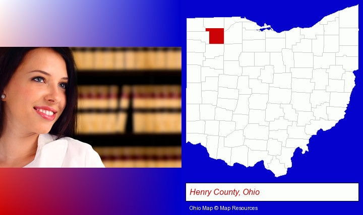 a young, female attorney in a law library; Henry County, Ohio highlighted in red on a map
