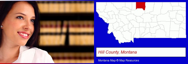 a young, female attorney in a law library; Hill County, Montana highlighted in red on a map