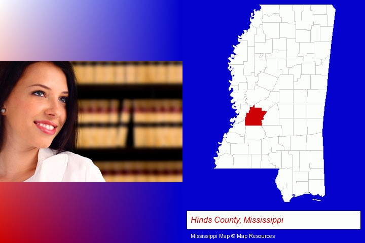 a young, female attorney in a law library; Hinds County, Mississippi highlighted in red on a map