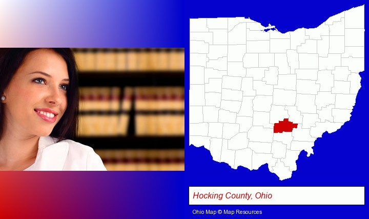a young, female attorney in a law library; Hocking County, Ohio highlighted in red on a map